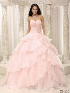 Flower Accent Waist Baby Pink Multi-Layered Dresses for a Quince