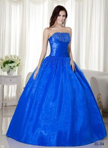 Classic Taffeta Royal Blue Beading Ruched Sweet Sixteen Dresses