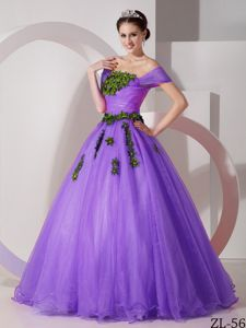 Light Purple off Shoulders Sweet Sixteen Dresses with Appliques