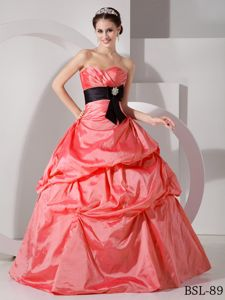 Watermelon Sweet 16 Dresses with Black Sash and Pick-ups