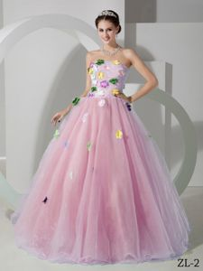 Lovely Pink Strapless Sweet 16 Dresses with Colorful Appliques