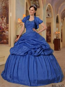 Sapphire Royal Blue Pleated Sweet 16 Dresses with Capelet and Pick-ups
