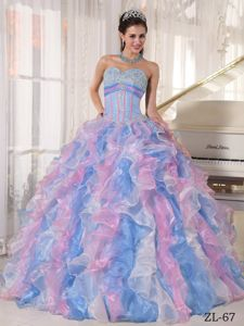 Multi-Color Sweetheart Beading Sweet 16 Dresses with Ruffles
