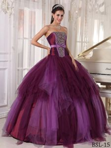 Burgundy Beading Sweet 16 Dresses with Bowknot On The Ribbon