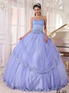 Lavender Ruched Sweetheart Tulle Dress for Quince with Appliques