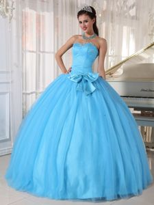Aqua Blue Beading Dress for Quince with Bowknot and Pleats
