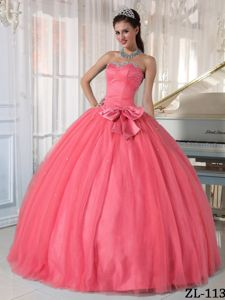 Lovely Watermelon Beading Dress for Quince with Bowknot