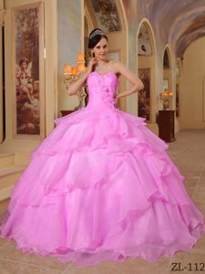 Pink Beading Organza Sweetheart Dress for Sweet 16 with Tiers