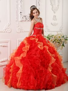 Sexy Red Ruffled Beading Sweetheart Dress for Sweet 16