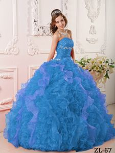 Aqua Blue Beading Bodice Dress for Sweet 16 with Ruffles