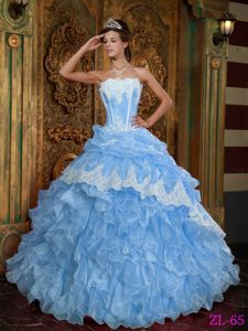Lovely Strapless Light Blue Ruffled Dress for Sweet 16 with Pick-ups