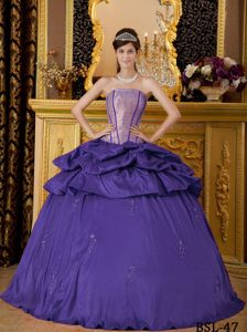 Unique Dark Purple Dress for Quince with Appliques and Pick-ups
