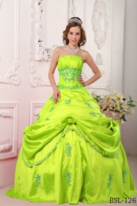 Strapless Yellow Green Dress for Quince with Appliques and Pick-ups