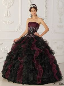 Burgundy and Black Dress for Quince with Ruffles and Appliques