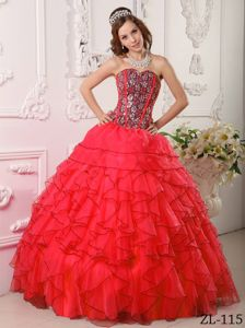 Popular Flamingo Organza Ruffled Dress for Quince with Beads