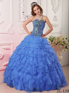 Lovely Sky Blue Sweetheart Beading Dress for Quince with Ruffles