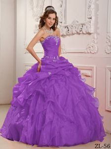 Elegant Purple Appliqued Dress for Quince with Pick-ups and Ruffles