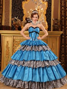 Blue Dress for Quince with Tiers and Leopard Lace up Back