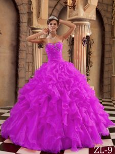 Hot Pink Beading Bodice Quinceanera Dresses Gowns with Ruffles