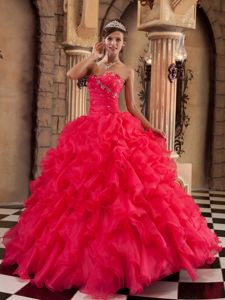 Coral Red Beading Sweetheart Quinceanera Gowns with Ruffles