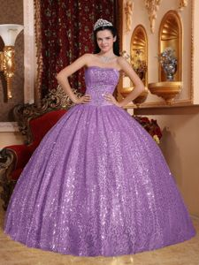 Attractive Lilac Beading Dresses for 15 with Appliques and Sequins