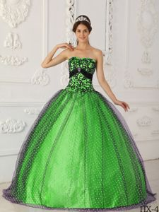 Black and Spring Green Taffeta and Tulle Sweet Sixteen Dresses