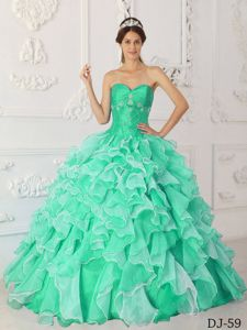 Apple Green Beading Ruffled Sweet Sixteen Dresses with Appliques