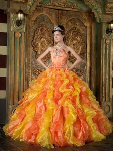 Orange and Yellow Sweet Sixteen Dresses with Appliques and Ruffles for Music Festival