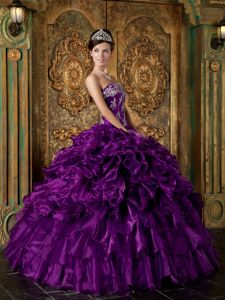 Elegant Purple Ruffled Sweet 15 Dresses with Tiers and Appliques
