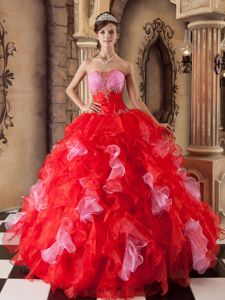Popular Red Organza Beading Quinceanera Dresses with Ruffles
