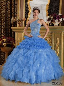 One Shoulder Tulle and Organza Appliques Sweet 16 Dresses in Blue