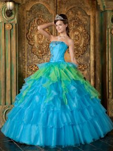 Multi-tiered Blue Strapless Quinceanera Party Dress with Appliques