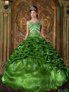 Taffeta Spaghetti Straps Appliques Dress for Quince Pick-ups in Green