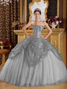 Recommended Grey Sweetheart Tulle Dress for Quince with Sequins