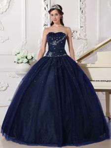 New Navy Blue Tulle Ball Gown Dress for a Quinceanera with Beading