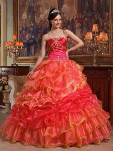 Attractive Beaded Quinceanera Gowns Dress Ruffled Layers in Orange