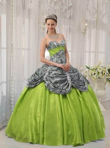 Zebra Print Sweetheart Sweet fifteen Dresses Pick-ups in Yellow Green