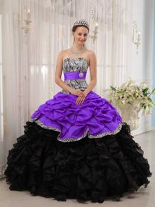 Pick-ups and Ruffles Zebra Printing Quinceanera Dresses in Fashion