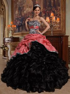 Zebra Print Black and Red Quinces Dresses with Ruffles and Pick-ups