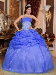 Affordable Organza Blue Strapless Dress Quinceanera with Pick-ups