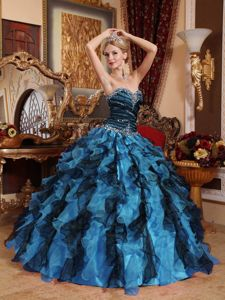 Nice Multi-colored Ruffles Sweetheart Sweet 16 Dress with Beading