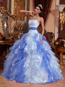 Beaded Appliques Multi-color Quinceanera Gown with Ruffled Layers