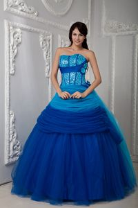 Delish Blue Ruches Sweetheart Quinceanera Party Dress with Sequins