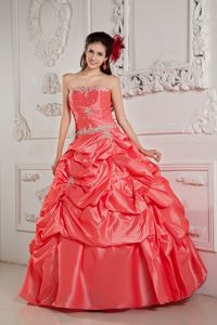 Watermelon Strapless Pick-ups La Quinceanera Dress with Appliques