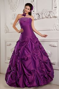 New Strapless Embroidery Beaded Taffeta Dress for Quince in Purple
