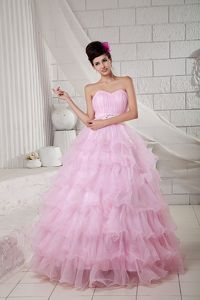 Pink Ruffled Layers Dresses for a Quinceanera Sweetheart in Organza