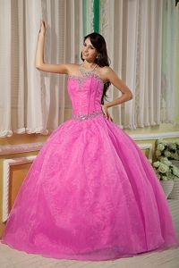 Rose Pink Organza Strapless Quinceanera Gown with Beading Bodice