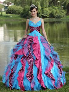 Colorful Zebra Print Appliques Vestidos De Quinceanera with Ruffles