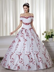 White and Red Off the Shoulder Dress for a Quince with Embroidery