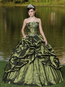 Newest Embroidery Olive Green Trajes De Quinceanera with Pick-ups